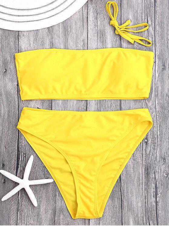 hot Padded High Cut Bandeau Bikini Set - YELLOW M