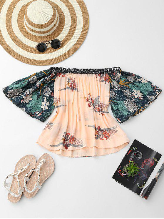 lady Floral Off Shoulder Blouse - FLORAL L