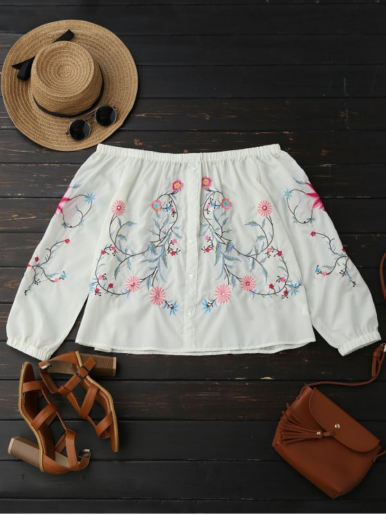 outfits Button Up Embroidered Off Shoulder Blouse - OFF-WHITE L