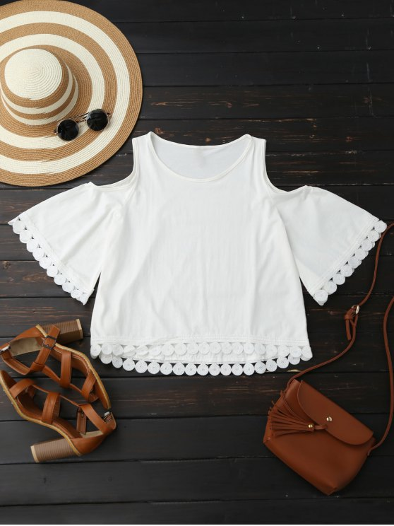 latest Lace Trim Cold Shoulder Blouse - WHITE XL