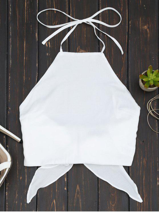 Tasca in vaschetta a croce Bowknot con collo alto alto - Bianco M