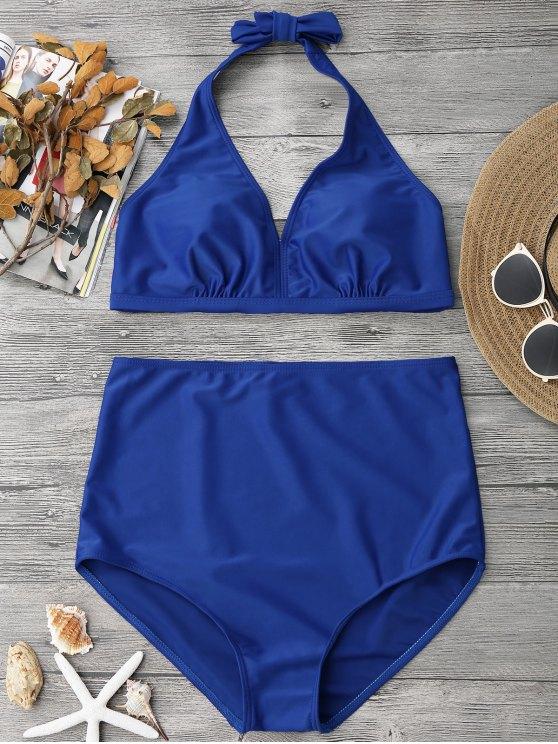 shop Halter Neck High Waisted Bathing Suit - BLUE L