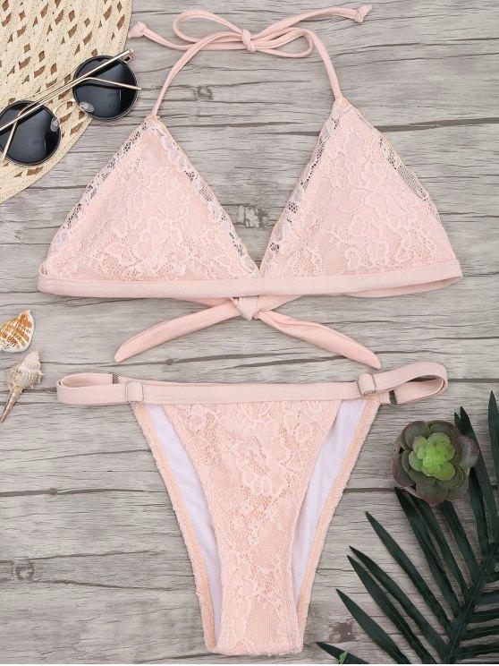 Set de bikini de encaje de superposición V - Rosa S