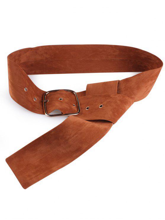 trendy Velvet Metal Rectangle Pin Buckle Belt - LIGHT BROWN