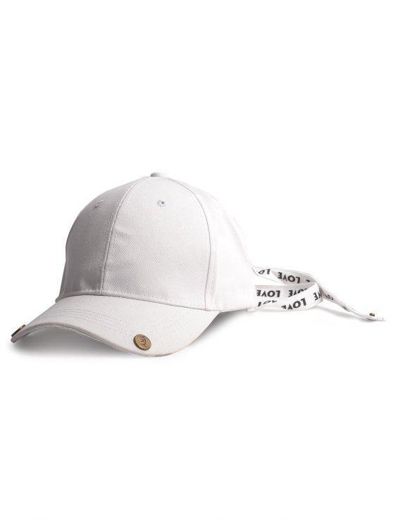خطابات مطبوعة مزدوجة ذيل طويل قبعة بيسبول - أبيض