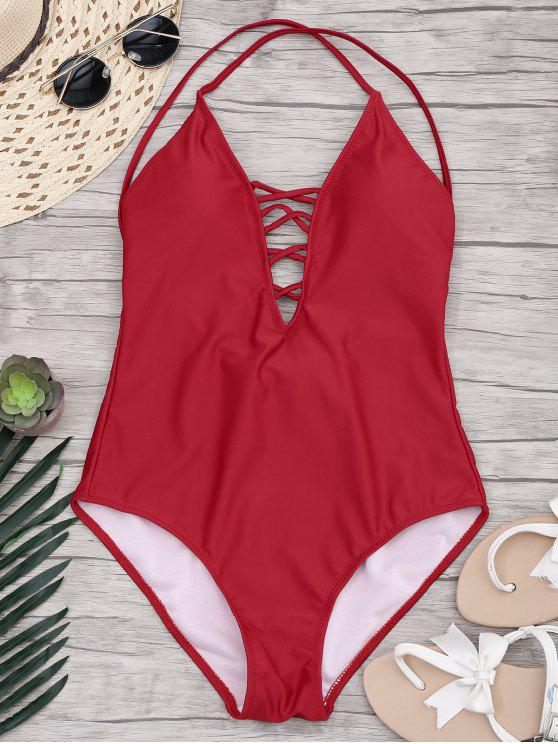 shop Slimming Lacing One Piece Swimsuit - RED S
