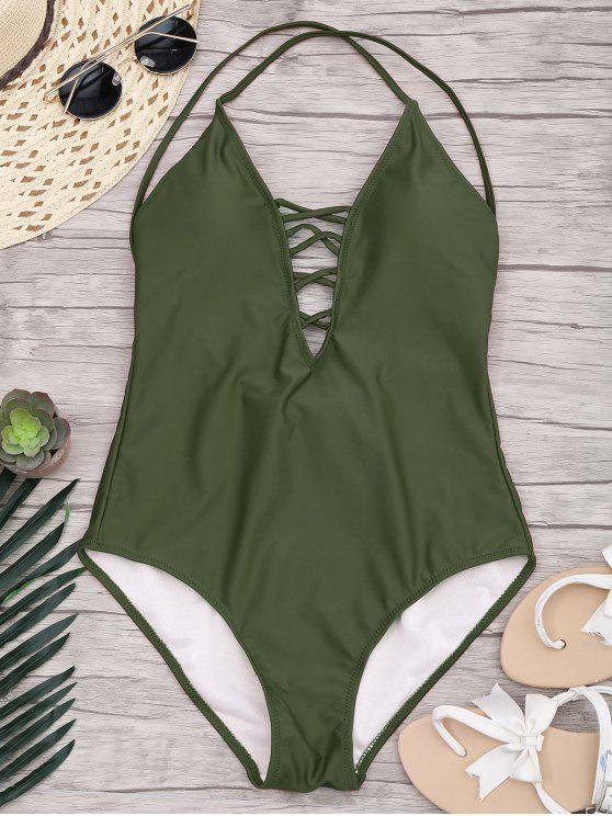 latest Slimming Lacing One Piece Swimsuit - ARMY GREEN L