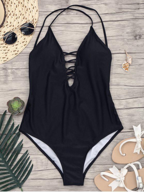 buy Slimming Lacing One Piece Swimsuit - BLACK L