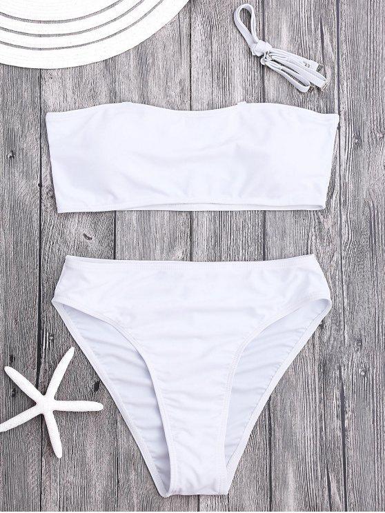 ladies Padded High Cut Bandeau Bikini Set - WHITE M