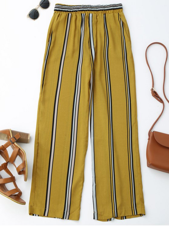 Pantalon à Pattes Larges à Rayures Taille Haute - Rayure S