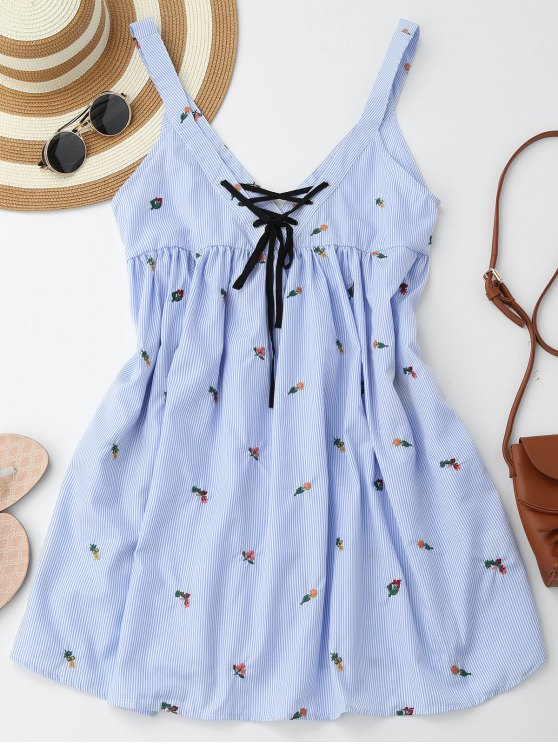 womens Embroidered Stripes Lace Up Casual Dress - STRIPE S