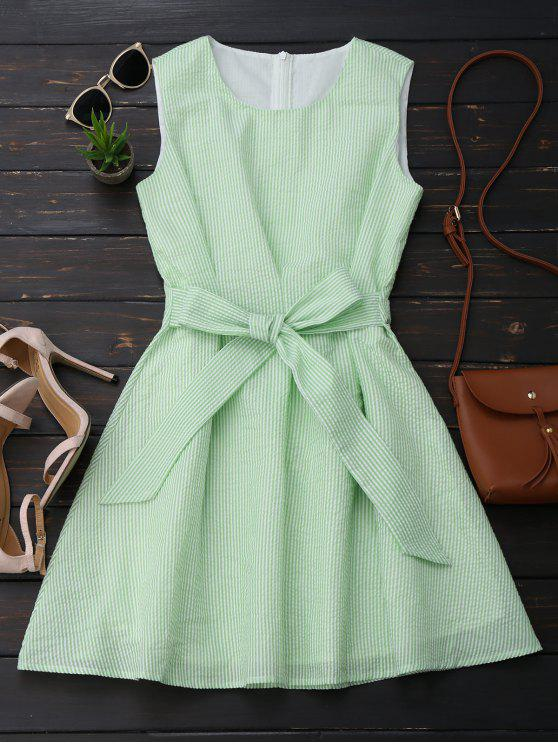 women Sleeveless Striped Bowknot Dress - WHITE AND GREEN S