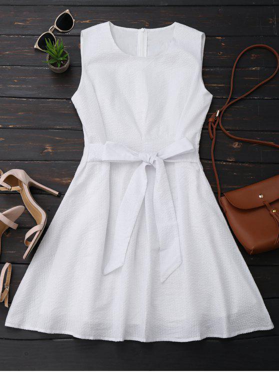 lady Sleeveless Striped Bowknot Dress - WHITE L