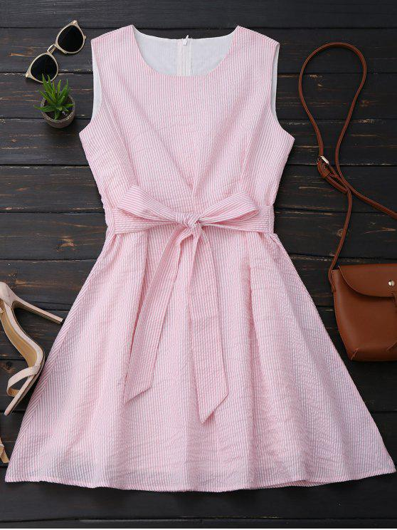 hot Sleeveless Striped Bowknot Dress - PINK AND WHITE M