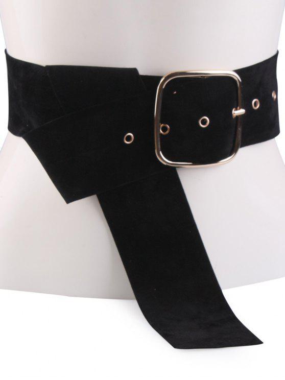 shops Velvet Metal Rectangle Pin Buckle Belt - BLACK