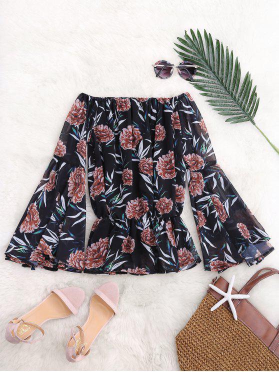 Blusa de gasa blusa de manga larga - Floral M