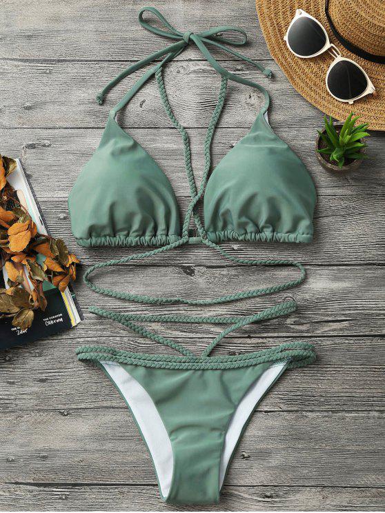 Juego de bikini con tiras trenzadas - Verde S