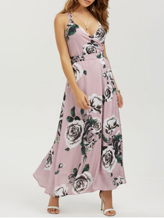 Robe Maxi de plage à bretelle imprimée de motif floral - Floral L