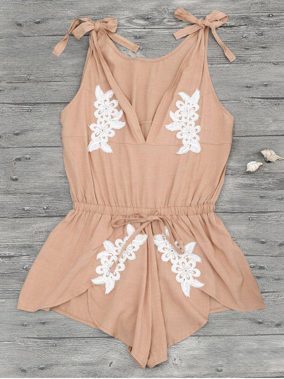 hot Floral Applique Drawstring Cover Up Romper - APRICOT M