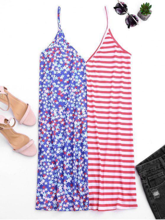 علم امريكي V فستان كامي ظهر على شكل - متعدد XL