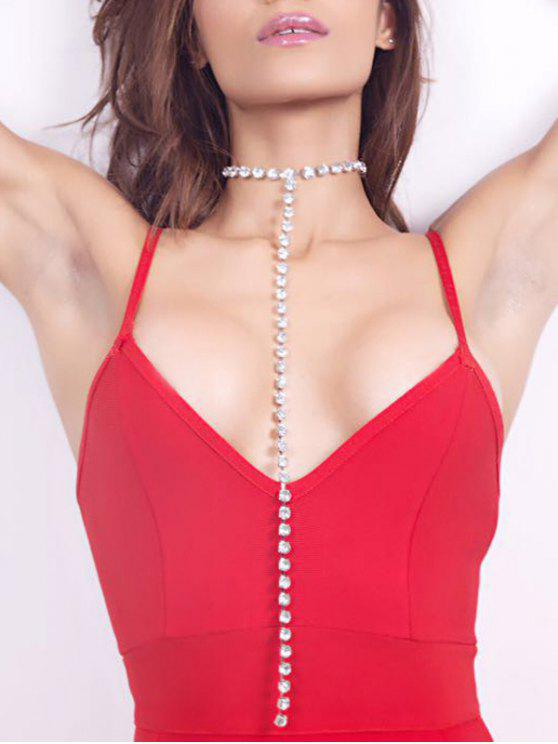 Rhinestoned Alloy Long Chain Necklace - Argent