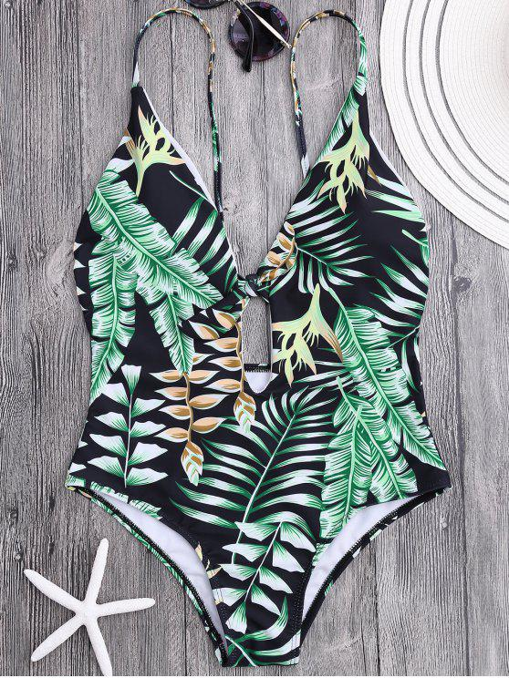 women's Plunge Tropical Leaf Print Padded Swimsuit - FLORAL M
