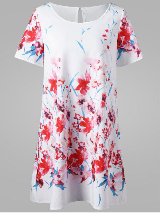trendy Floral Mini T-Shirt Dress - WHITE L