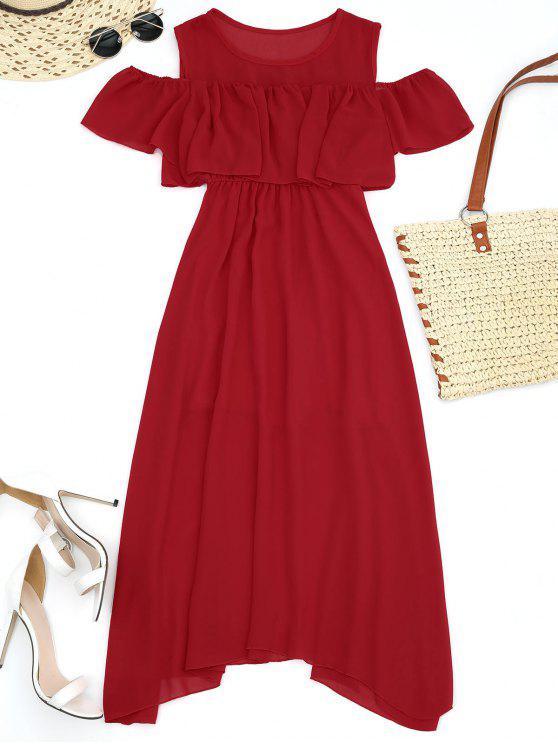 فستان عالية الخصر كشكش باردة الكتف - أحمر S