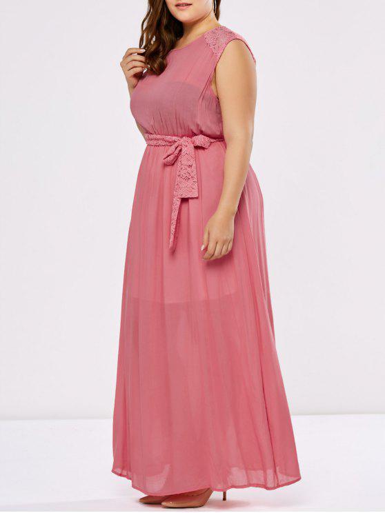 Lace Trim Floor Length Plus Size Prom Dress Deep Pink Plus Size