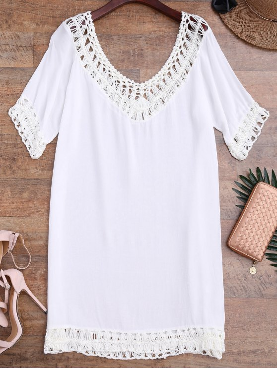 affordable Relaxed Fit Beach Cover Up Dress - WHITE ONE SIZE