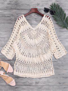 See-Through Crochet Cover Up Top - Beige