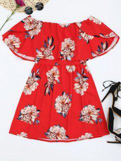 Floral Popover Off The Shoulder Dress - Red M