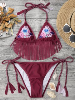 Floral Fringed Braided String Bikini Set - Red S