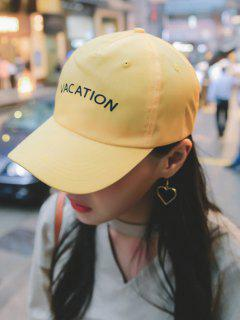 Waterproof Letters Embroidery Baseball Hat - Yellow
