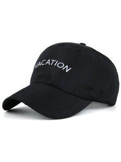 Waterproof Letters Embroidery Baseball Hat - Black