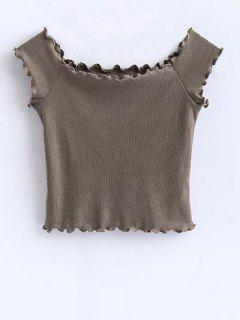 Off Shoulder Ruffles Crop Top - Khaki M