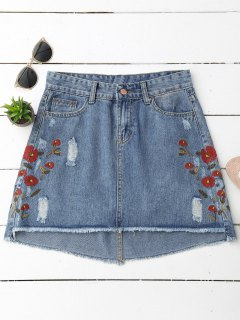 Cutoffs Floral Embroidered Denim Skirt - Denim Blue L