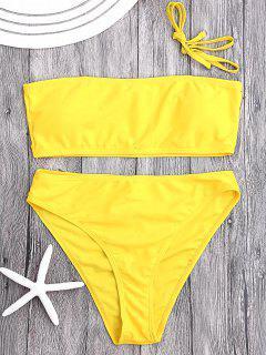 Ensemble Bikini Bandeau Paddé à Coupe Haute - Jaune S