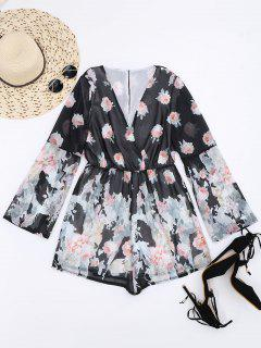 Long Sleeves Chiffon Floral Surplice Romper - Multi L