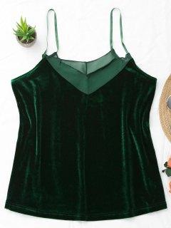 Cami Voile Panel Velvet Tank Top - Deep Green L