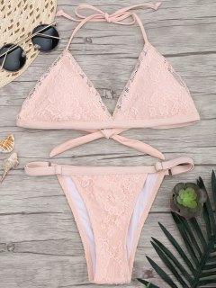 Lace Overlay V String Bikini Set - Pink S