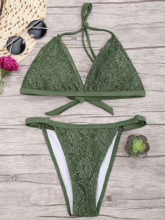 Lace Overlay V String Bikini Set - Army Green S