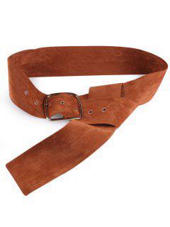 Velvet Metal Rectangle Pin Buckle Belt - Light Brown