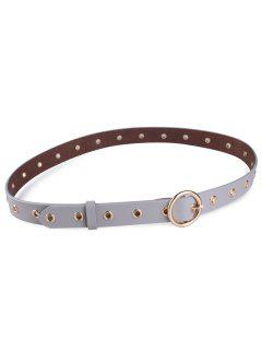 Round Metal Buckle Circle Rings Faux Leather Belt - Gray