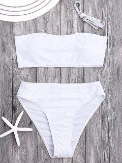 Ensemble Bikini Bandeau Paddé à Coupe Haute - Blanc S