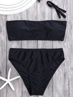 Padded High Cut Bandeau Bikini Set - Black M
