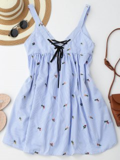 Embroidered Stripes Lace Up Casual Dress - Stripe L