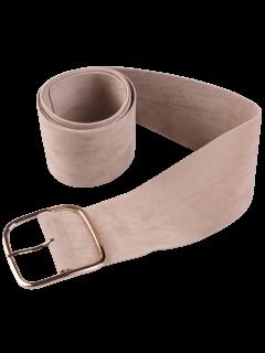 Velvet Metal Rectangle Pin Buckle Belt - Khaki
