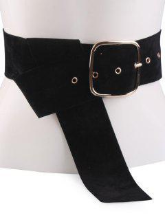Velvet Metal Rectangle Pin Buckle Belt - Black
