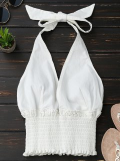 Smocked Halter Backless Tank Top - White S